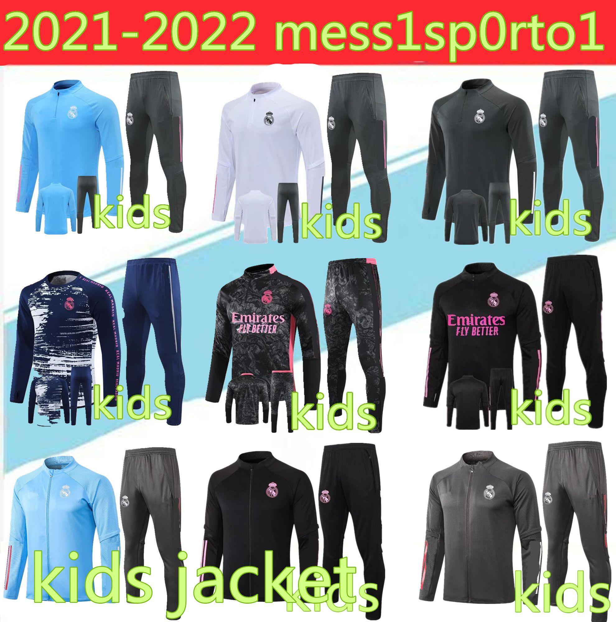 Kids 2021 Real Madrid Tracksuit Football Football Suit Suite 20 21 Kids Camiseta de futbol Risque Chandal Football Jogging Tracksuit