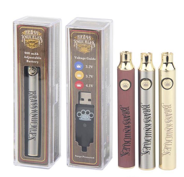 Messing-Knöchel E Zigarettenbatterie 650mAh 900mAh-VAPE-Stiftspannung einstellbar 3.2V 3.7V 4.1V Holz SS Gold 510 Vorwärmbatterien
