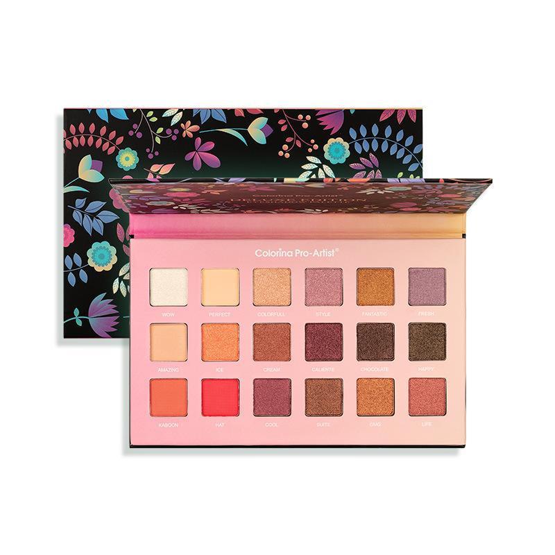 Flores 18 cores maquiagem pressionada paleta paleta fosca shimmer pó pigmentada nude fácil de usar olho