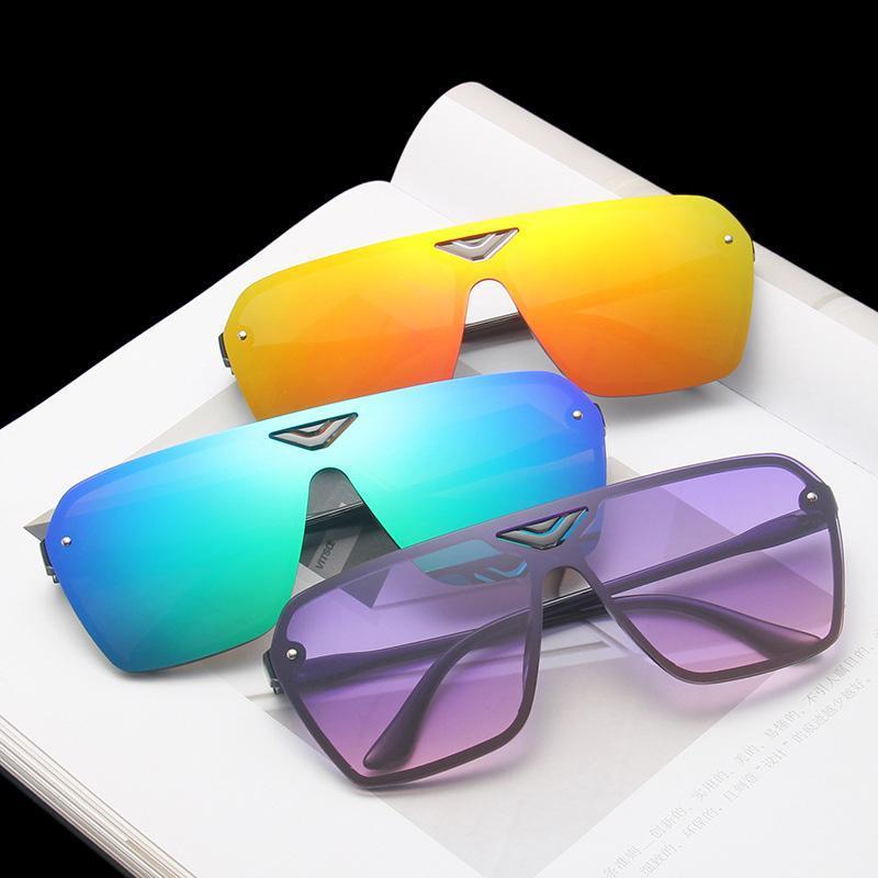 Gafas de sol cuadradas de gran tamaño de la moda gafas de sol retro sin llanta para mujer de una pieza Gafas Shade Brand Designer Vintage Gafas