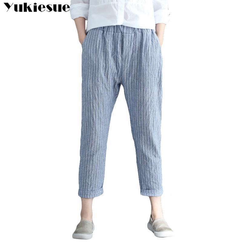 Neu ankommen Sommer Frauen Knöchellangen Hosen Elastische Taille Lose Baumwolle Leinenhose Vintage Gestreifte Haremhose Plus Größe 210412