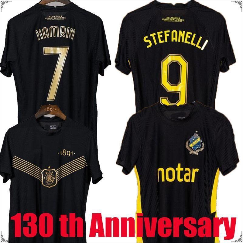2122 Aik Fotboll 130th Anni Camicia da calcio Jersey Black Golden PapagianNopoulos Rogic Larsson Tihi Anniversary