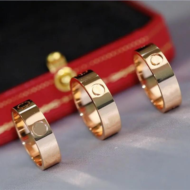 316L Titanium Steel Anillo Silver Love Zircon Men and Women Rose Gold 5mm Anillos Joyería para Amantes Pareja Regalo de boda