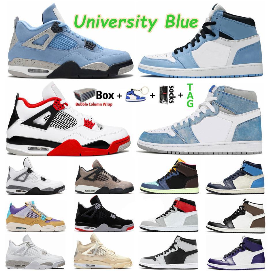 University Blue 1 1 1 Hype Royal UNC 남성 농구 신발 검은 고양이 자란 4 4s 흰색 시멘트 항해 구아바 아이스 스포츠 망 여성 운동화