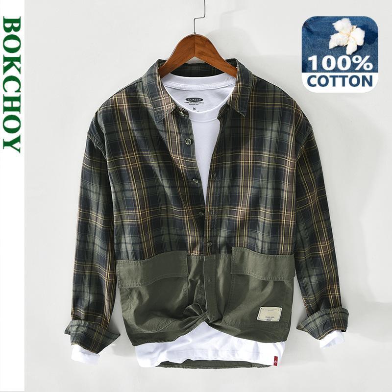 봄 남자 패치 작업 격자 무늬 셔츠 코튼 긴 소매 단추 빈티지 z136 남자 캐주얼 셔츠