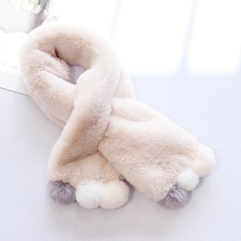 Inverno carino bambini sciarpa ragazze ragazze sciarpe bambino imitazione coniglio con colletto di pelliccia con sciarpa con scollo a pompon regalo di Natale 881 Y2