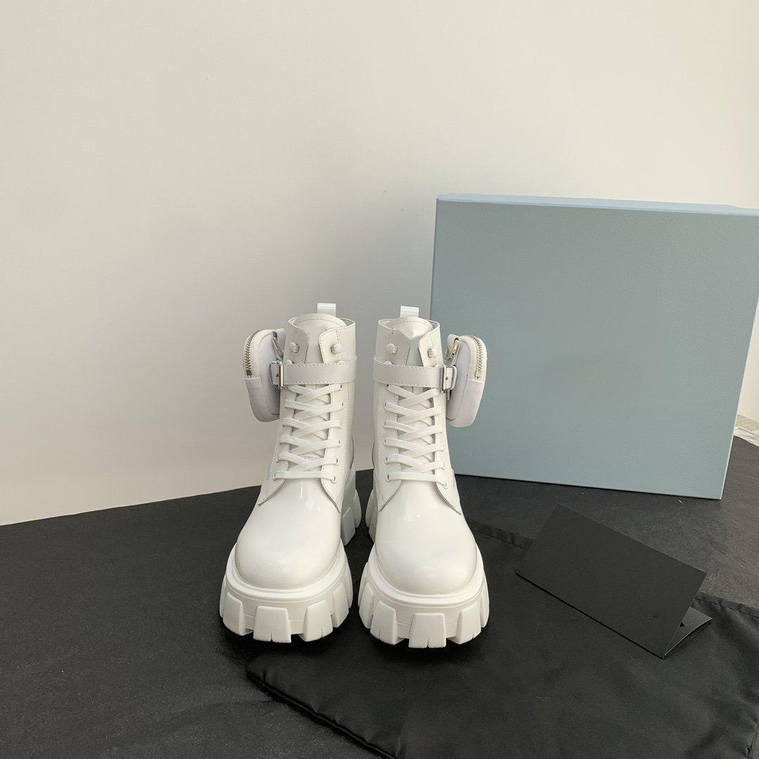 2021ss En Kaliteli Tasarımcı Lüks Kadın Rahat Ayakkabılar Cebi Kısa Çizmeler Balıksırtı Minimalist Spor