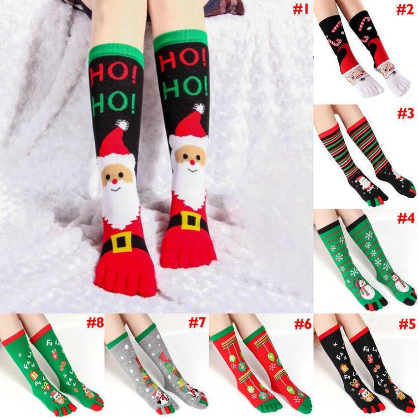 Мультфильм рождественские женщины ноги смешные 8 стилей 3d напечатаны пять пальцев носки снеговика санта теплая середина теленка длинные стоковики