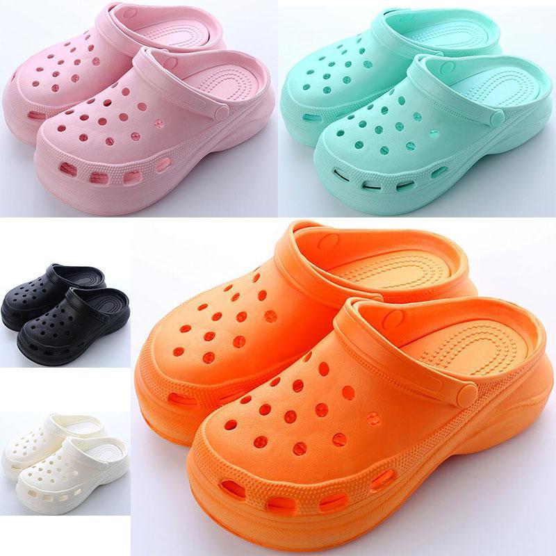 새로 판매 여성 여름 두꺼운 솔 홀 신발 숙녀 높이 증가 신발 검은 흰색 오렌지 핑크 그린 여자 비치 클래식 샌들 슬리퍼