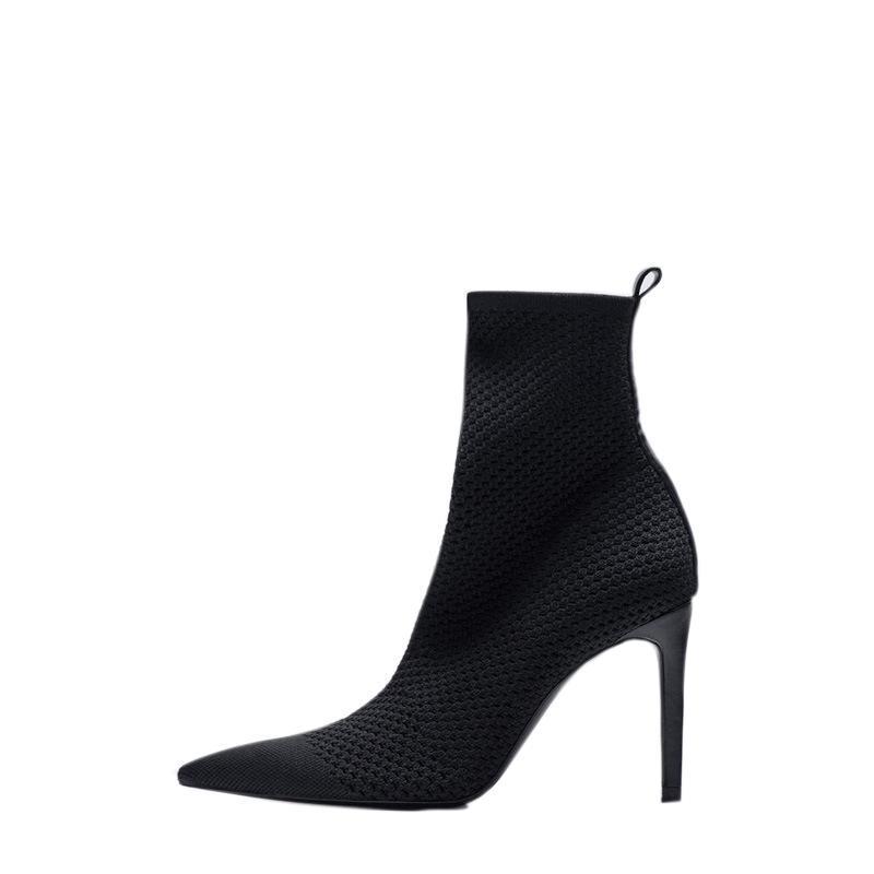 Bottes pour 2021 Chaussures Femmes Modern All-match Point Toe Super Dame Elastique Tricoté Chaussure Chaussette Bureau