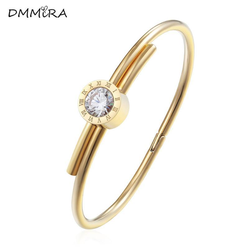 Fashion Color Rose Gold Wire Stainless Steel Women Round Roman Letter White Crystal Stones Charms Bracelets Bangle Jewelry