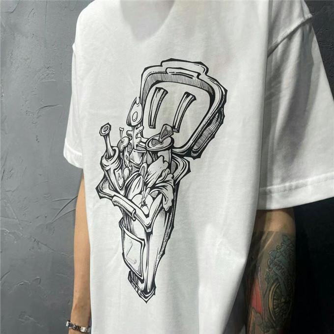 2021 T-shirt casual di lusso T-shirt da uomo Designer manica corta Manica corta 100% cotone di alta qualità all'ingrosso bianco e nero taglia S ~ 2XL