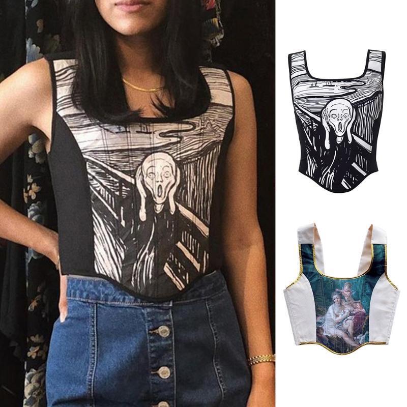 Ремни женская сексуальная мода одежда напечатана Y2K корсет топ летом без рукавов кружева поднимает женские топы уличные
