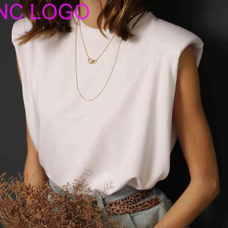 2021 New Cotton Shoulder Pad T-Shirt Sleeveless Solid Color Round Neck Office Lady Pullover Fashionable Women Elegant Clothes