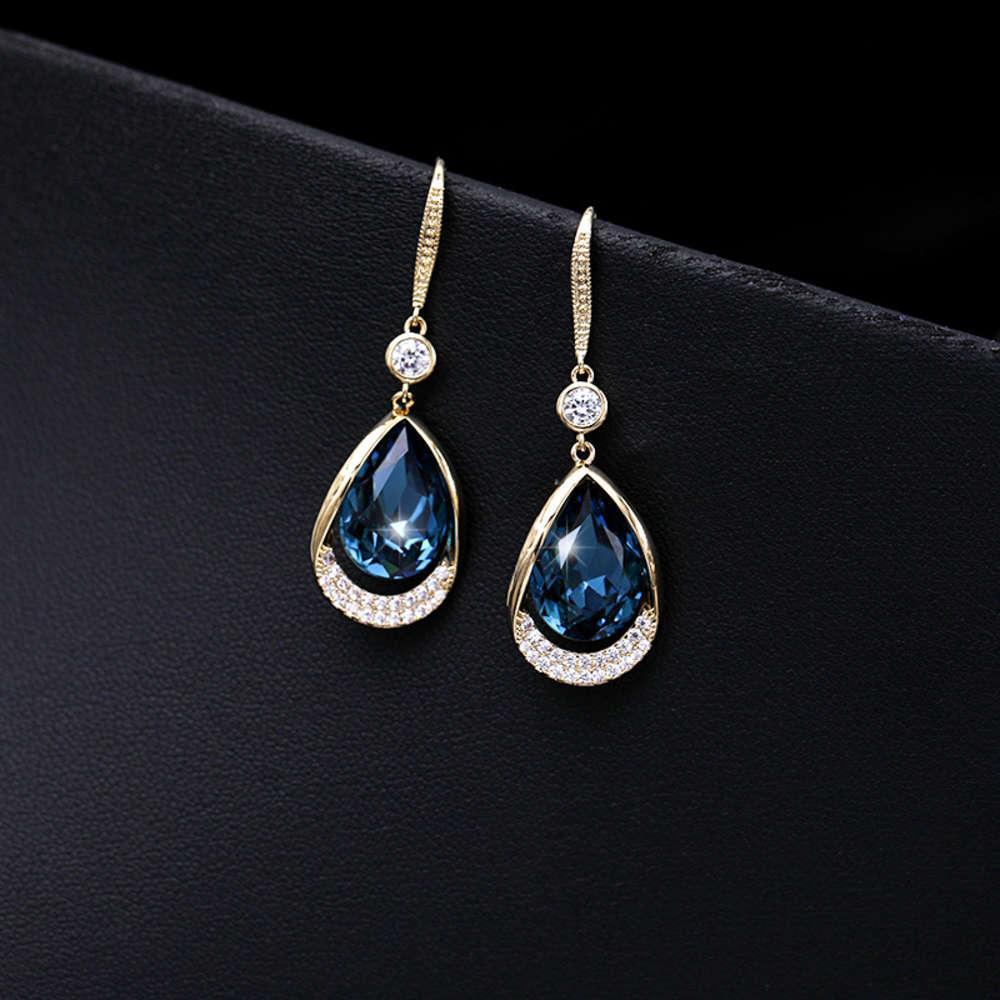 Liyu Schmuck Koreanische Mode Ohrringe Blau Wasser Tropfen Ohrhapf Kurzer Set Zirkon Kristall Temperament Schmuck Frauen