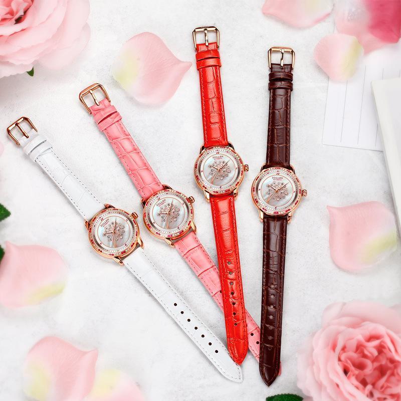 Armbanduhren Mode Lässige leuchtende Frauenuhr Luxus Qualität Löwenzahn Wasserdichte Automatische mechanische SL408