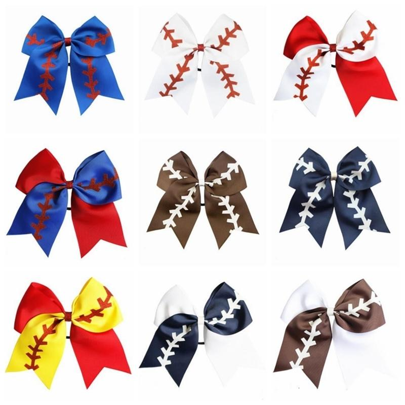 Softball Team Baseball Cheer Bows Girls Fashion Rugby Swallowtail Ponytail Hair Holders Bow Girls Hair Accessories 10 Colors 8 Inch D6299