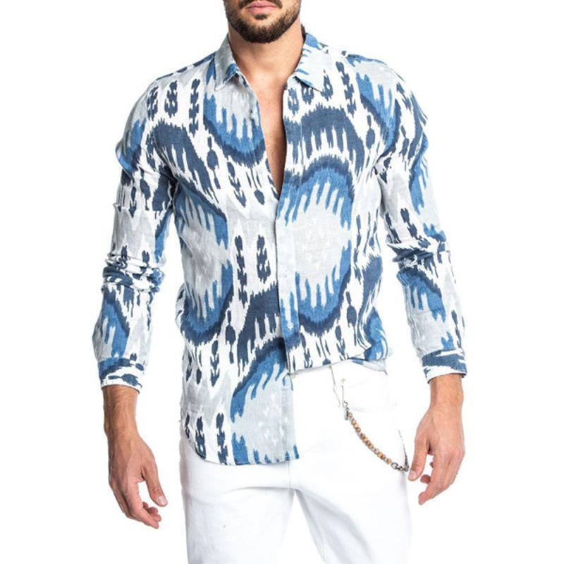 망 넥타이 염색 셔츠 패션 인쇄 된 해변 긴 소매 캐주얼 넥타이 염색 남성