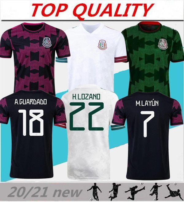 20/21 Mexique Accueil Soccer Jerseys National Team Uniforme 2021 A.Guardado H.Lozano Chirin de football pour hommes Chicharito