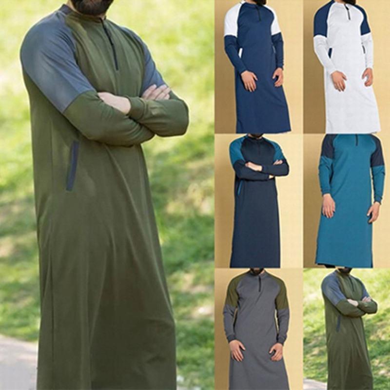 Ropa étnica 2021 Vestido islámico árabe para hombres en Ramadán Arabia Saudita Musulmán Arabia ABAYA TRADICIONAL DUBAI