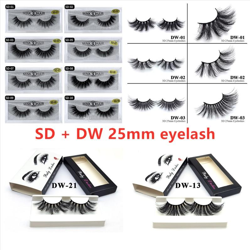 3D Mink Eyelashes +New 25mm 2 kinds Soft Natural Thick Falsh Eyelash 3d Eye Lashes Extension 20 styles and 26styles