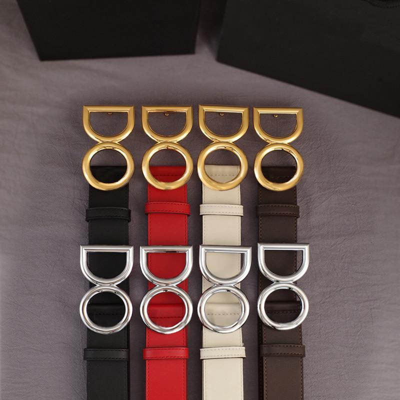 Ceinture Mode lettres Gold Silver Boucle Hommes Cuivelles pour femmes Véritable Cowhide Largeur 3.8cm 8 Couleur de haute qualité avec boîte-cadeau