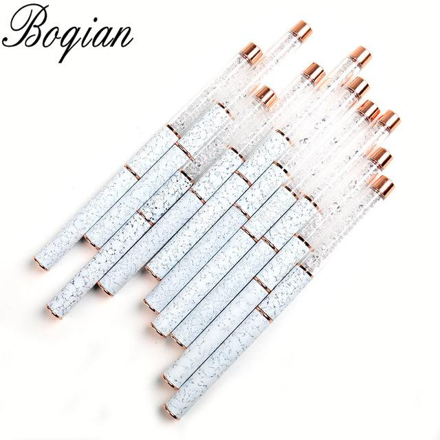 BQAN Marbled Rose Gold Manicure Acrylic UV Gel Extension Pen For Nail Polish Painting Drawing Brush