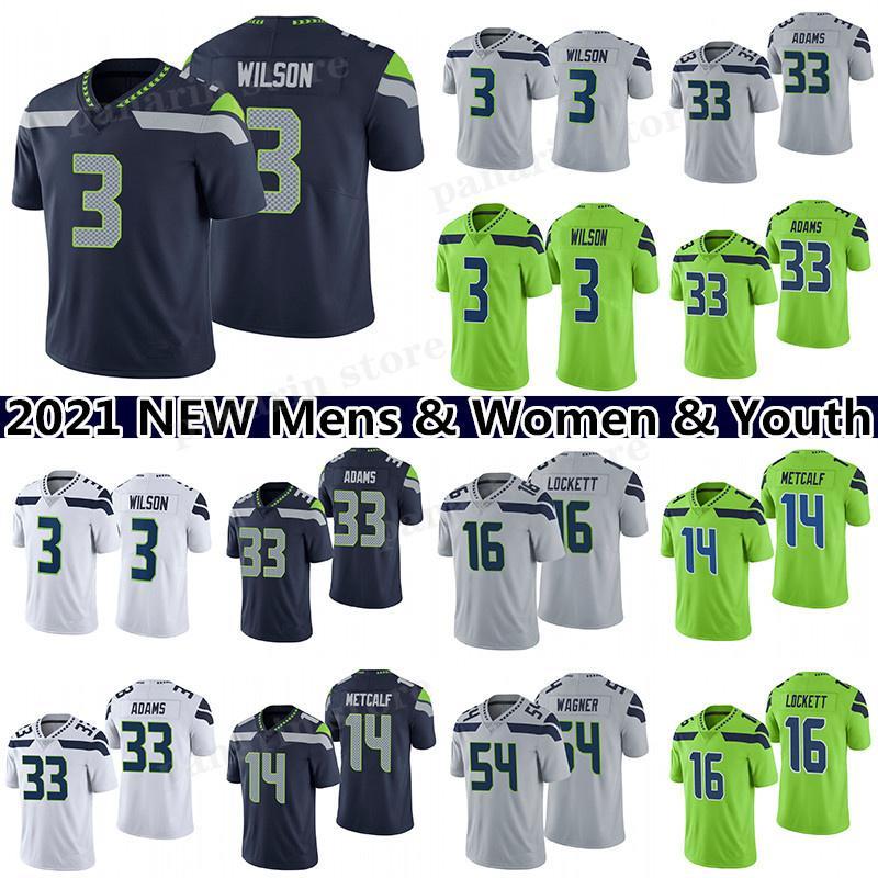 3 Russell Wilson 33 Jamal Adams 12s 14 DK Metcalf Futebol Jersey 16 Tyler Lockett 54 Bobby Wagner Mens Mulheres Juventude Jerseys