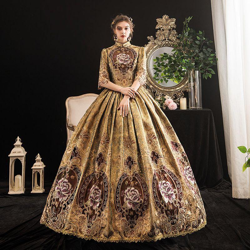 2021 Retro Gold Mandarin Kragen Hochzeit Masquerade Partykleid Mittelalterliche Southern Belle Theater Kostüme Customized