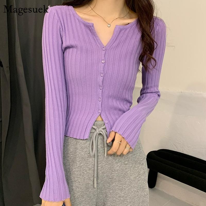 가을 얇은 outwear Vinatge 니트 스웨터 V 넥 슬림 여성 Cardigan 2021 솔리드 캐주얼 스웨터 12212 여성용 니트 티셔츠