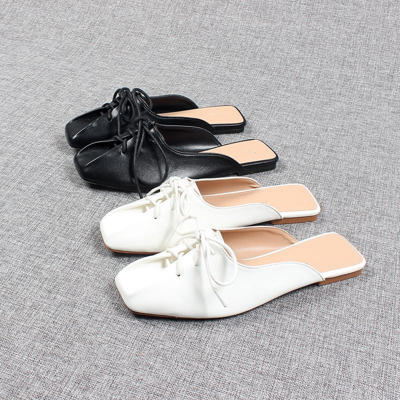 Ayakkabı Kadın Terlik Rahat Pantofle Bej Topuklu Sandalet Kapak Toe Büyük Boy Slaytlar Yumuşak Lüks 2021 Siyah Kare Düz Katı Ru