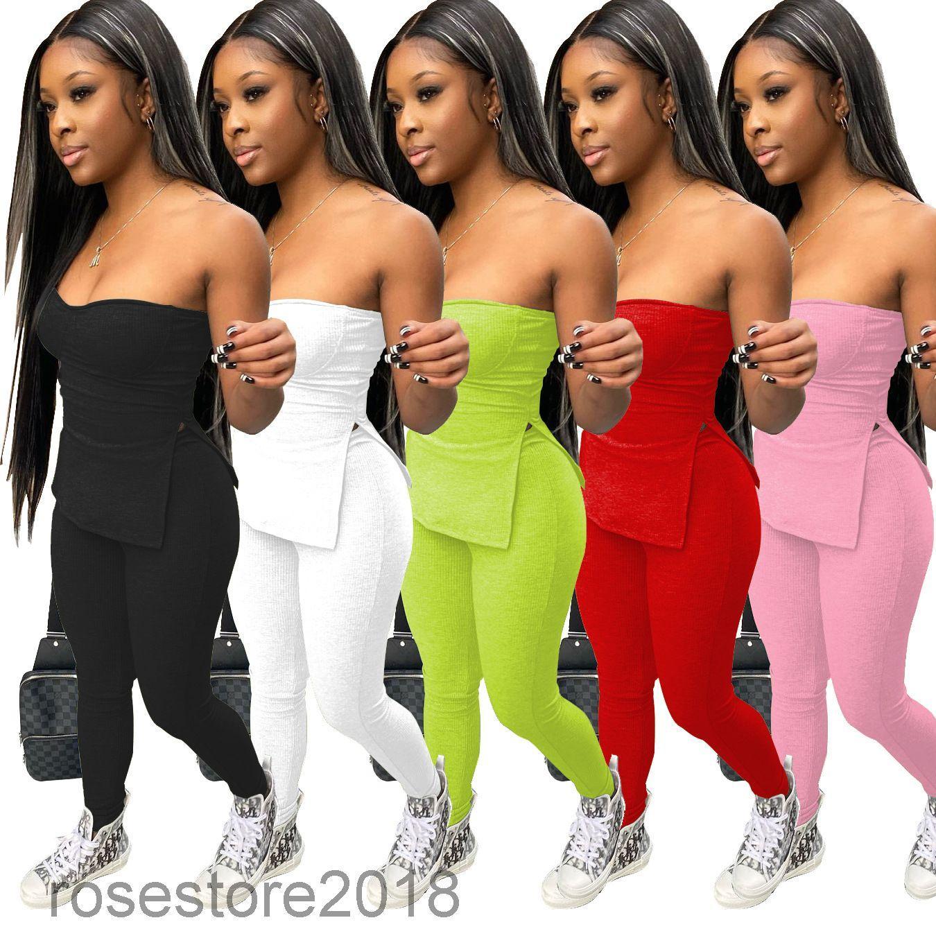 Nuevo Pantalones envueltos en pecho para mujer Traje casual Color Sólido Pit Strip Elástico Apretado Pastel Pantalones Pantalones de dos piezas Conjuntos de venta caliente