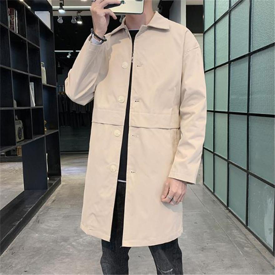 Männer Männer Trenchcoat Massivfarbe Revers Hals Langarm Lose Mäntel Mode Einreiher Breated Man Oberbekleidung