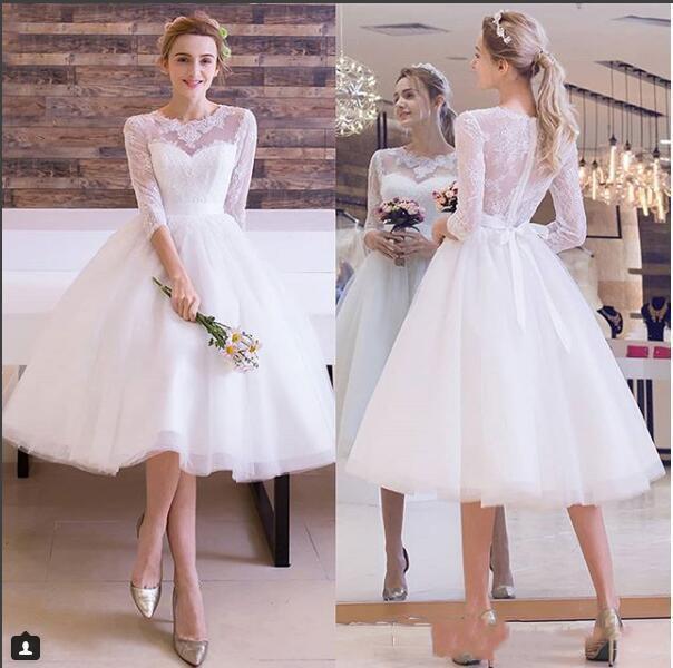 Кружевное платье для платья свадьбы свадебное платье 3/4 с длинными рукавами Beach Bridal Plassies 2021 элегантные белые старинные платья