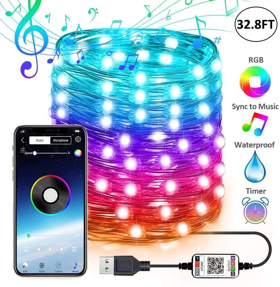 USB Peri Dize Işıkları Müzik Sync Renk RGB LED Şerit Bluetooth Uygulama Kontrolü Bakır Tel Dizeleri Noel Partisi Düğün Dekorasyon Için