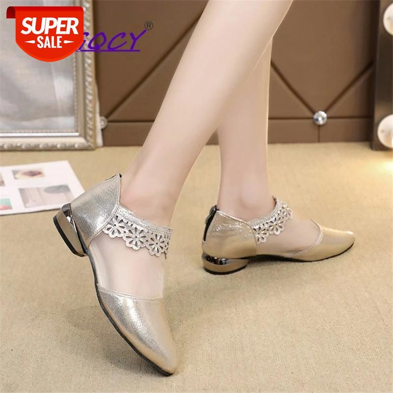 Mesh PU Leather pumps women shoes 2019Spring Autumn Elegant Pointed Square heel Ruffles Zipper Wedding female #ls9t