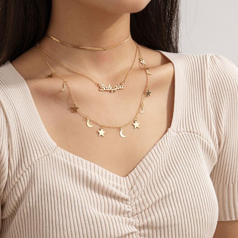 الذهب ستار القمر الإنجليزية الأبجدية قلادة القلائد للنساء خمر الأزياء سلاسل متعددة المستويات هدية المجوهرات الإناث