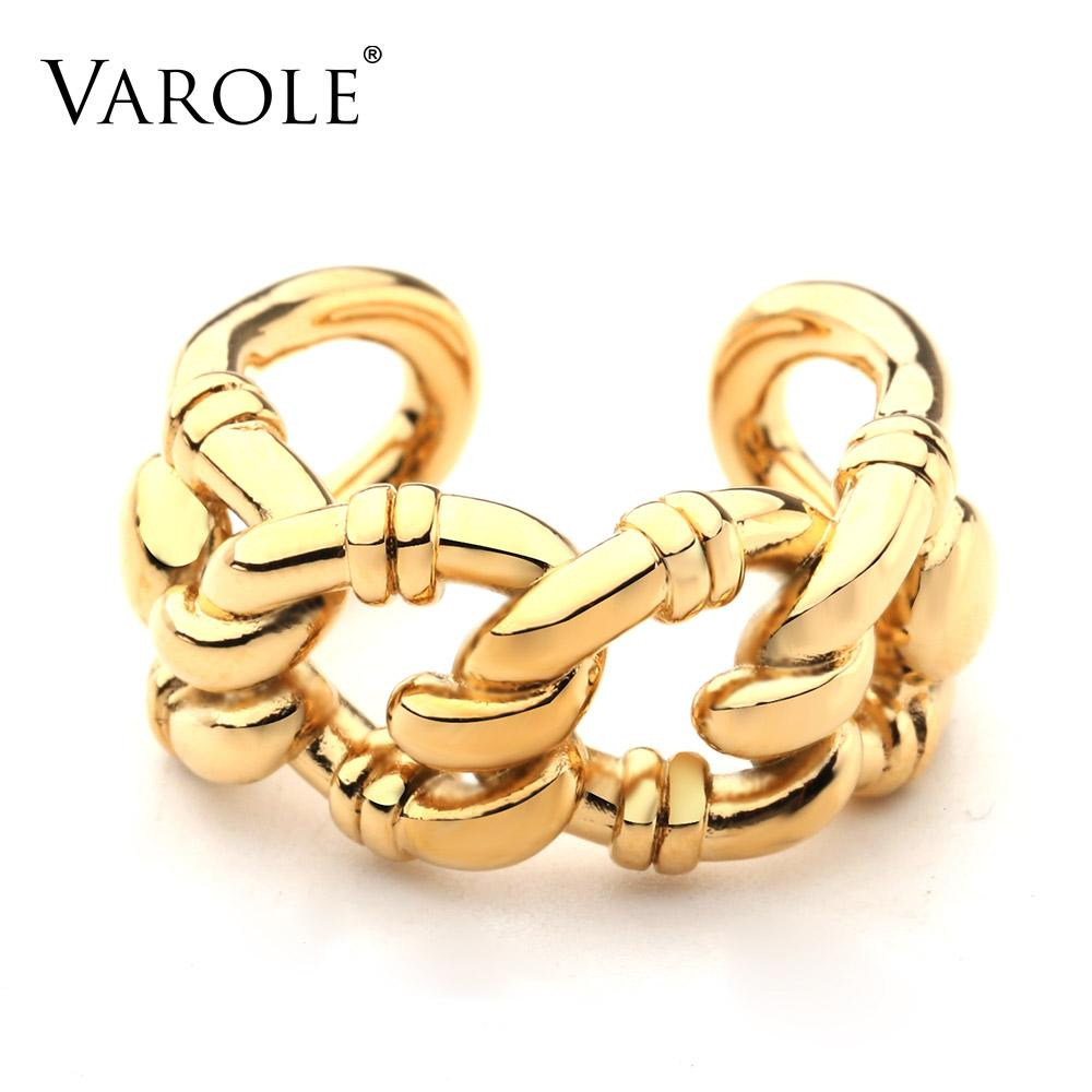 VAROLE Punk Hollow Chain Rings For Women Gold Color Ring Fashion Jewelry Party Gifts Anillos