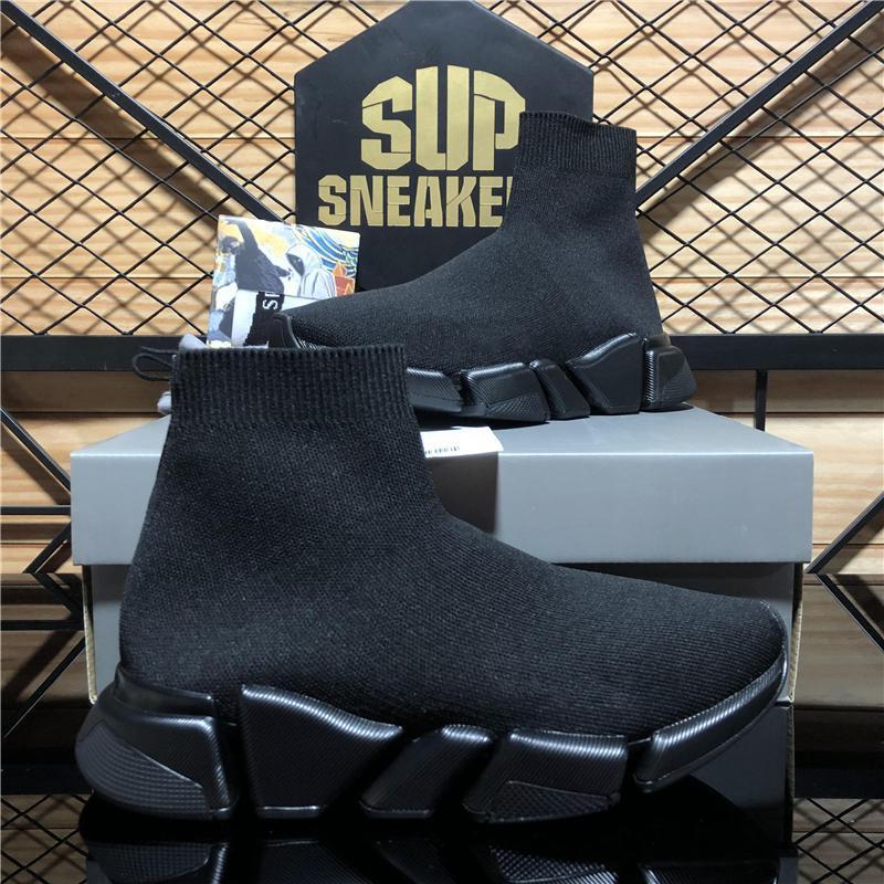 Top Qualität Männer Frauen Casual Schuhe Geschwindigkeit Trainer Designer Sneakers Triple S Stricksocke Weiß Schwarz Khaki Wasserzeichen Atmungsaktiv Weiche Plattform Sneaker mit Box