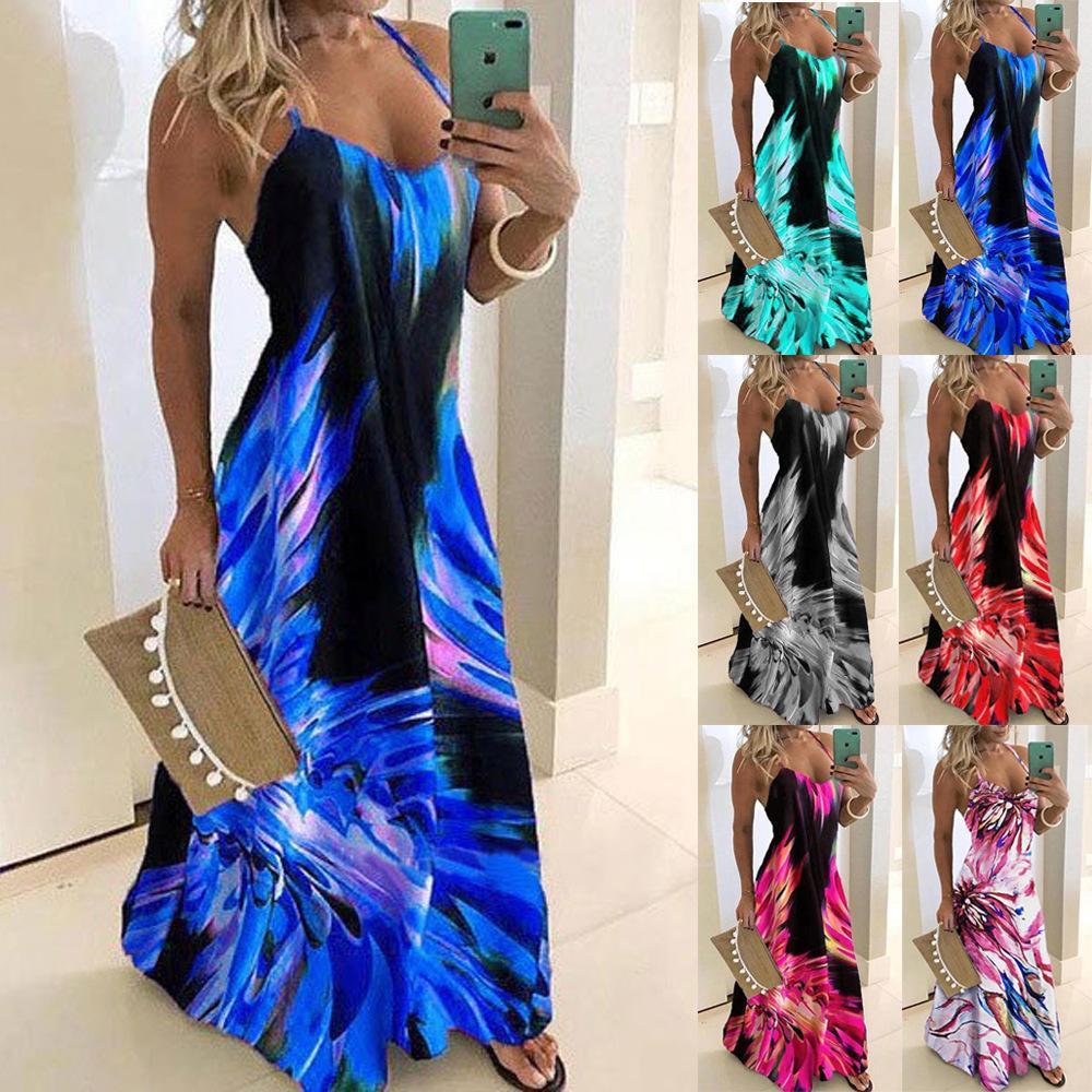 S-5XL Vintage Blatt Print Kleid Sexy Spaghetti Strap V-Ausschnitt Lange Kleider Frauen Sommer Big Swing Beach Kleider Party Tunika