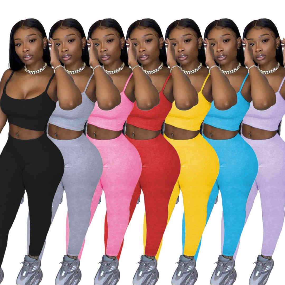 Vêtements de concepteur 2021 Femme Casual Femmes Sports Sports Métales Couleur Solitis Pantalons Deux pièces Ensemble JoGging Converses Sportwear Femme Tracksuit