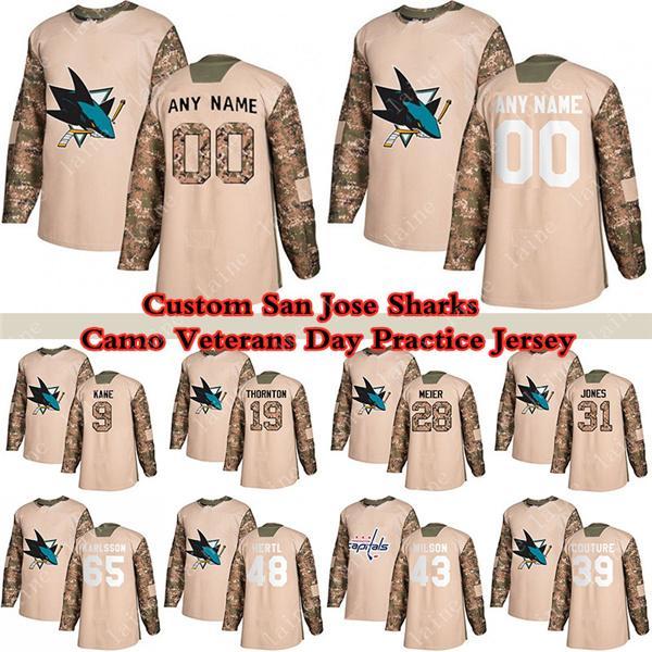 Özel San Jose Sharks Camo Gaziler Günü Uygulama Hokey Formaları 28 Timo Meier 39 Logan Couture 65 Erik Karlsson 9 Evander Kane Herhangi bir sayı ve isim