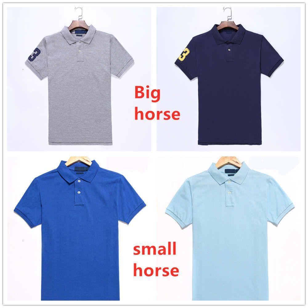 Hombre Polo Shirts Caballo Bordado Etiqueta Hombres Polo Hommes Classic Business Casual Top Tee Plus Big Horse Tamaño transpirable S-2XL