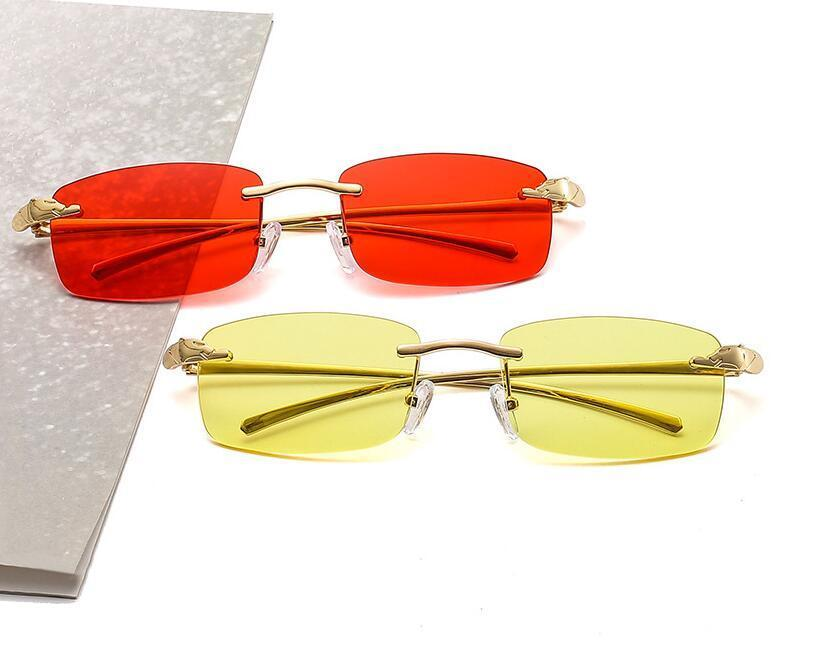 خمر فريد الفهد بدون شفة مستطيل النظارات الشمسية النساء الحلوى الألوان واضح عدسة نظارات ماركة مصمم الرجال نظارات الشمس