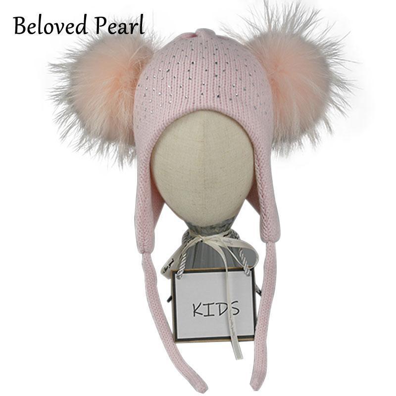 두꺼운 이어폰 소녀 겨울 모자 더블 리얼 모피 Pompon 따뜻한 폭격기 모자 아이 모자