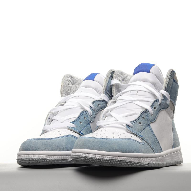 2021 Jumpman 1 High University Blue Basketball Shoes 2.0 Silver Toe Mid-Night Night Sneakers com caixa