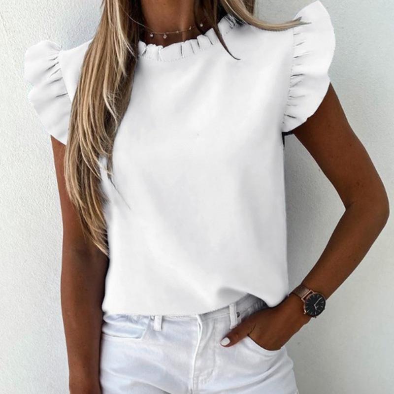 Tişörtleri Bayan Tops Fırfır Bluz O Boyun Kısa Kollu Artı Boyutu Yaz Bayanlar Gömlek Rahat Günlük Katı Zarif