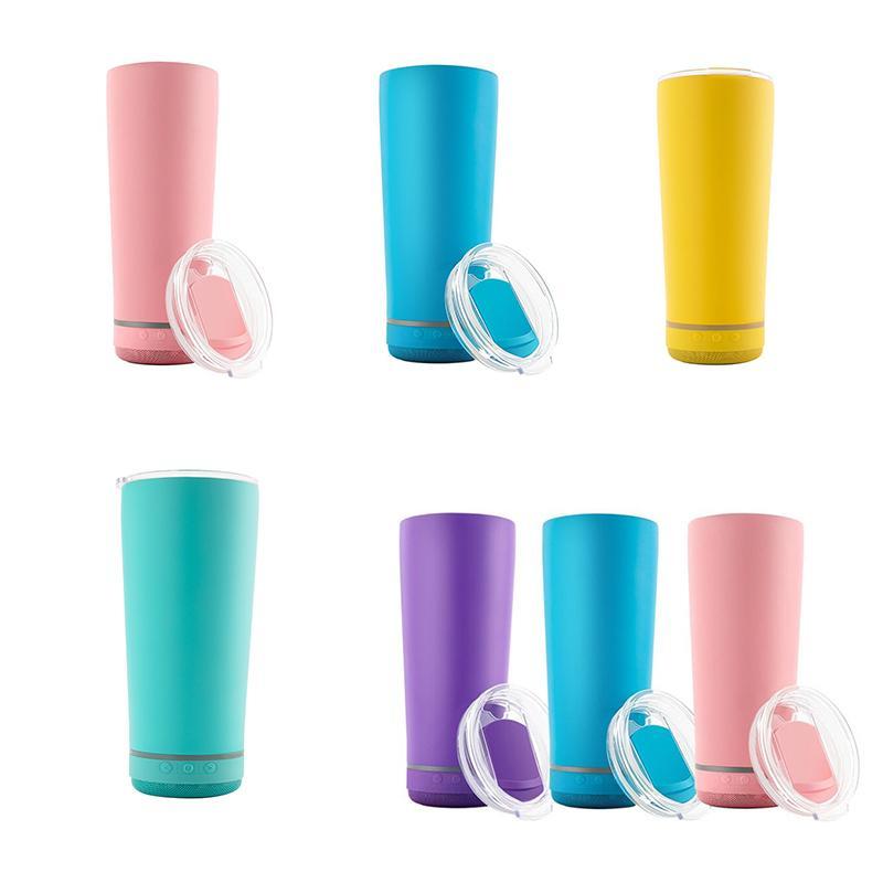11 colori 18 once wireless music tacco in acciaio inox sublimazione in acciaio inox bianco bicchiere in bianco con altoparlante per viaggi 4b9t