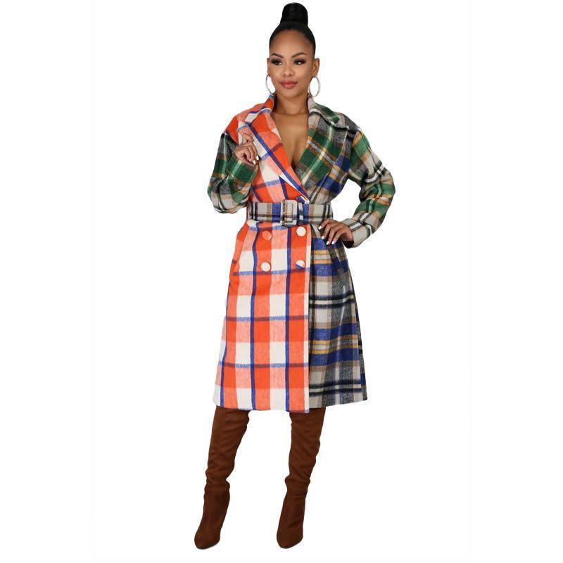 Damen Plaid Patchwork Womens Designer Wolle Herbst Winter Kontrastfarbe Langarm REPEL NAST Casual Frauen Mischungen