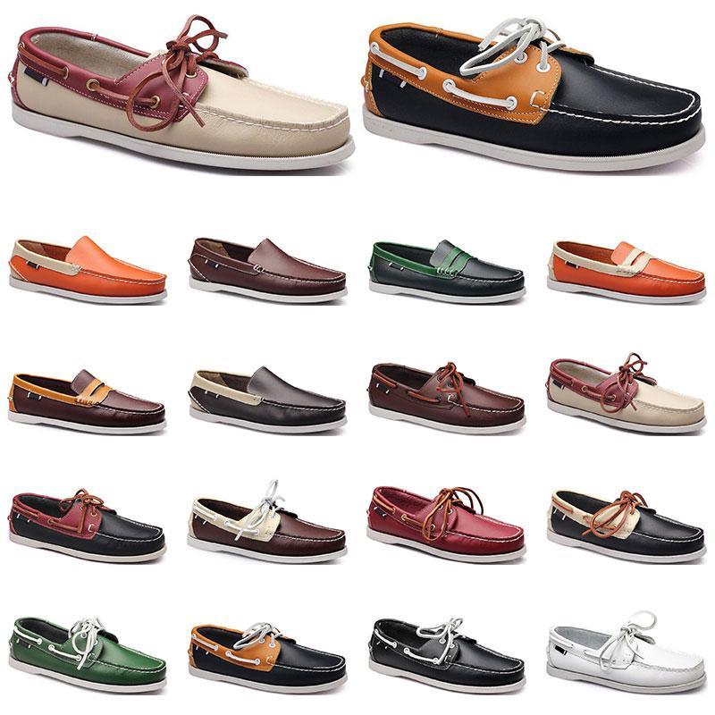 50 Baskets Femmes Sailing Shoe Chaussure Casual Casual Chaussures Noir Blanc Blanc Vert Orange Orange Formateurs en plein air Taille 38-45